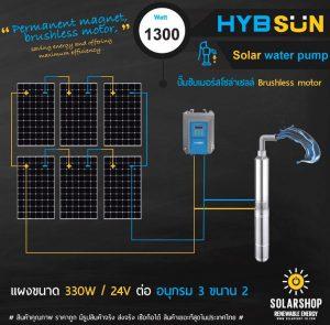 ปั๊มพลังงานเเสงอาทิตย์ 1300วัตต์ ลงบ่อ3นิ้ว ราคาถูก
