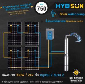ปั๊มพลังงานเเสงอาทิตย์ 750วัตต์ ลงบ่อ4นิ้ว ราคาถูก