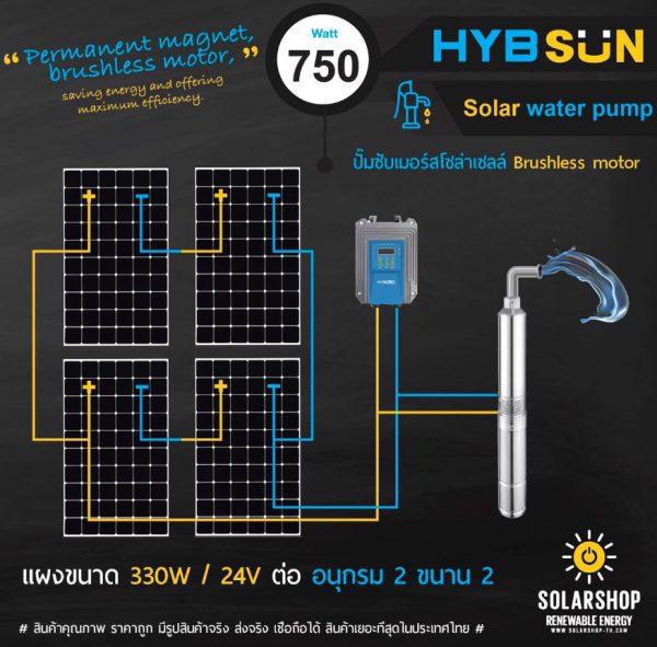 ปั๊มพลังงานเเสงอาทิตย์ 750วัตต์ ราคาถูก 2